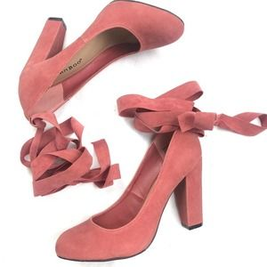 NEW Bamboo Pink Suede Amuse Lace-Up Heels
